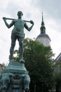 Fleischerbrunnen mit Marienkirche in Dohna