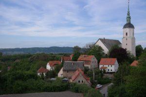 Blick von der Burg auf Dohna mit Marienkirche