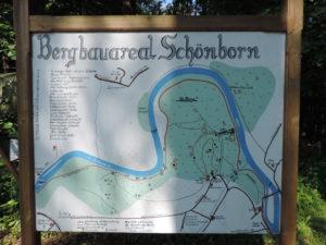 Karte des Bergbauareals Schönborn