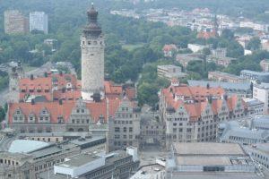 Blick aufs Rathaus Leipzig