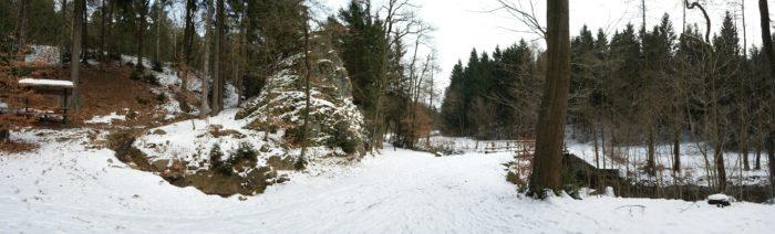 Der geografische Mittelpunkt Sachsens an der Diebeskammer