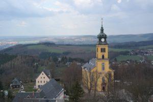 Blick vom Lindenturm auf das nördliche Umland der Augustusburg