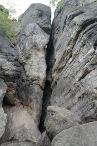Der Kamin - Einstieg in die Obere Häntzschelstiege