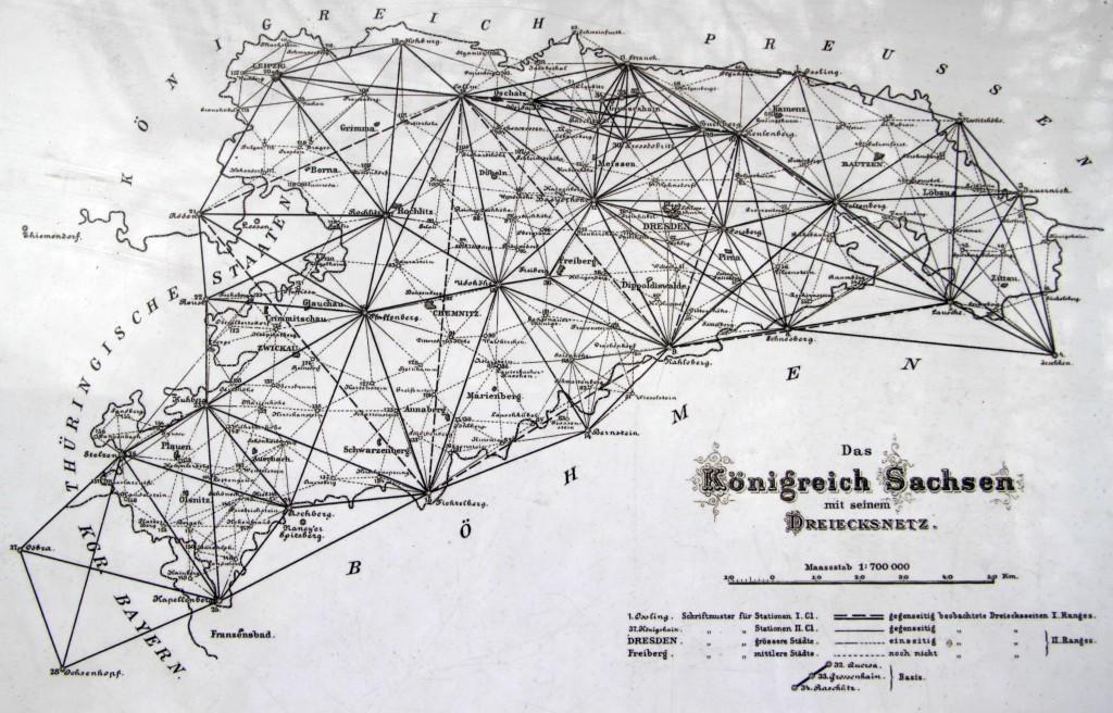 Triangulationspunkte in Sachsen, Scan der Originalaufnahme von 1890; Lizenz: gemeinfrei