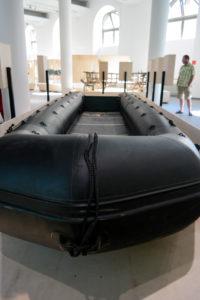 Ein Flüchtlingsboot aus dem Mittelmeer