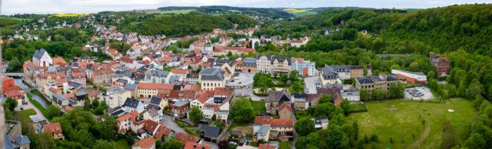 Blick auf Weida vom Bergfried der Osterburg Weida