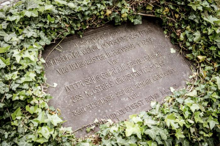 Cronschwitz Grabstein in der Klosterruine